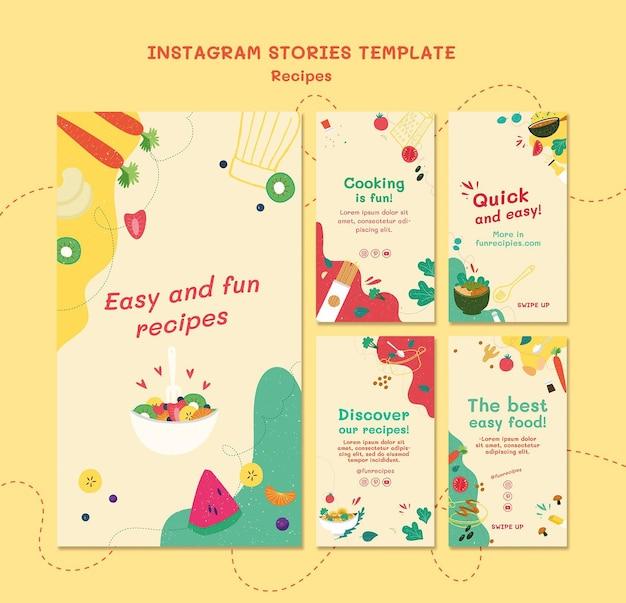 Modello di storie di instagram del sito web di ricette