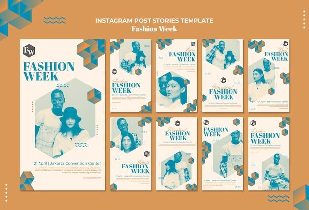 Modello di storie di instagram della settimana della moda