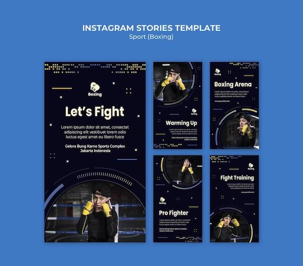 Modello di storie di instagram di annunci di boxe