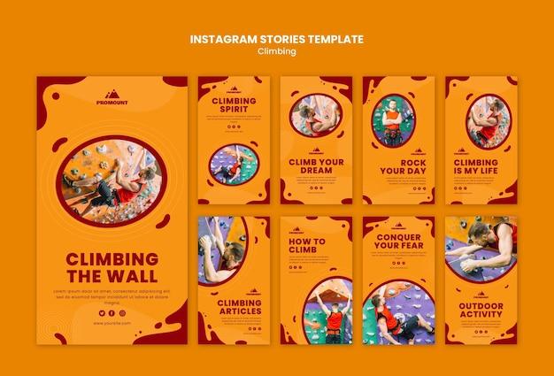 Modello di storie di instagram di arrampicata su roccia
