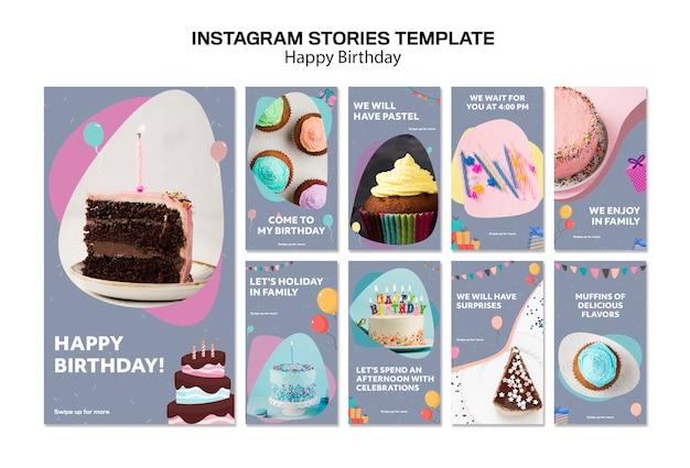 Modello di storie di instagram di buon compleanno