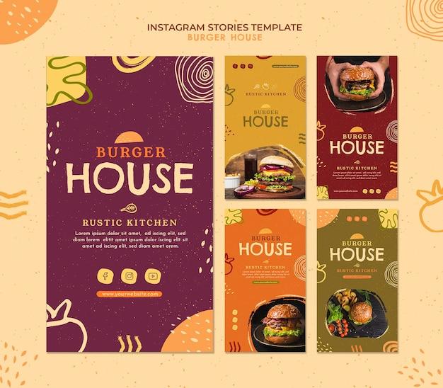 Modello di storie di instagram di burger house