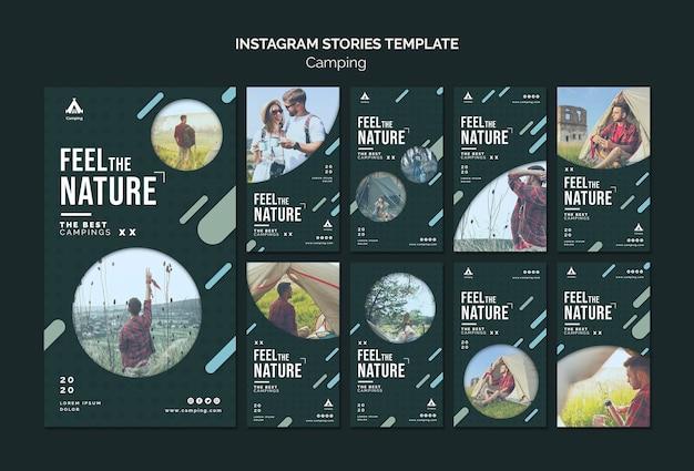 Modello di storie di instagram di campeggio