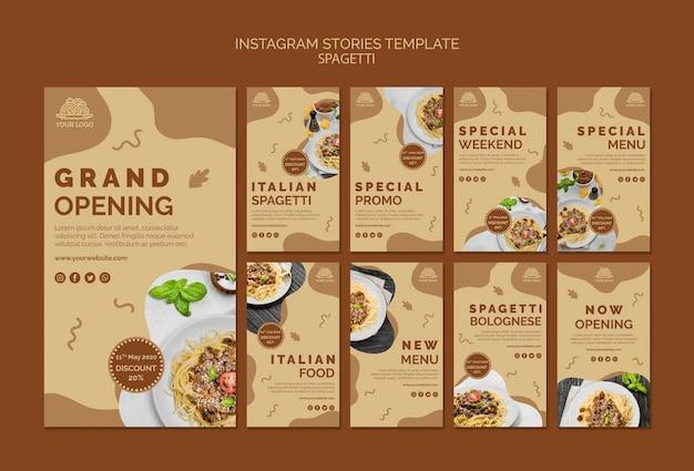 Modello di storie di instagram di cibo italiano