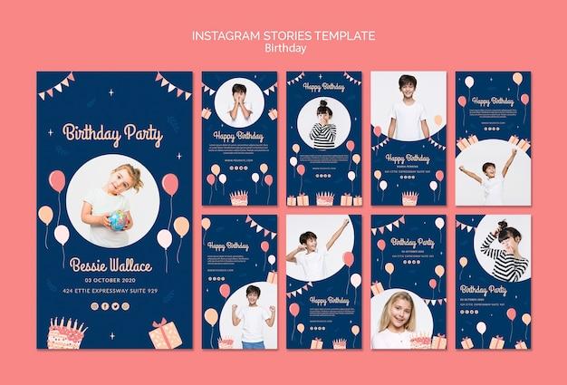 Modello di storie di instagram di compleanno