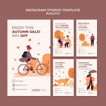 Modello di storie di instagram di concetto di autunno