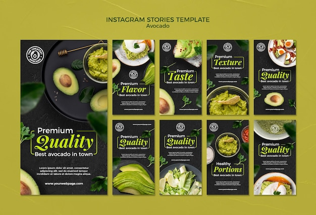 Modello di storie di instagram di concetto di avocado