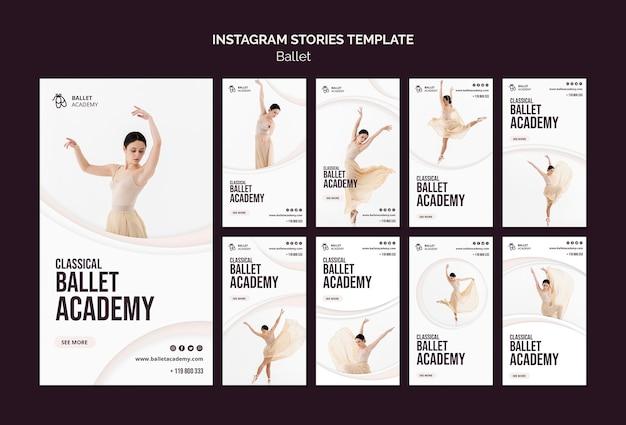 Modello di storie di instagram di concetto di balletto