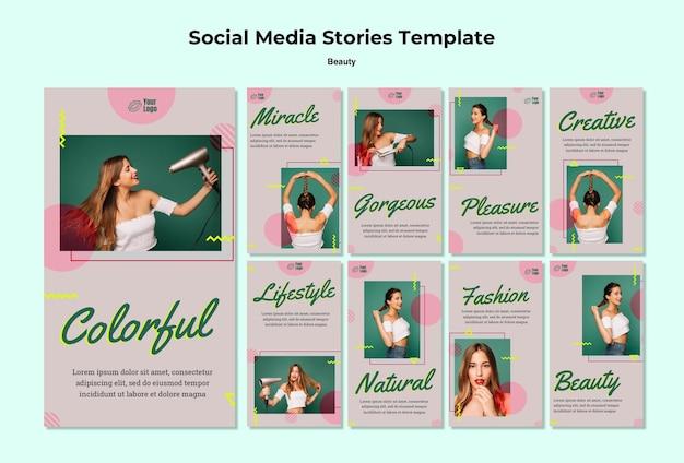 Modello di storie di instagram di concetto di bellezza