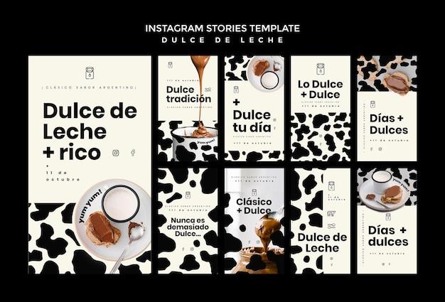Modello di storie di instagram di concetto di dulce de leche
