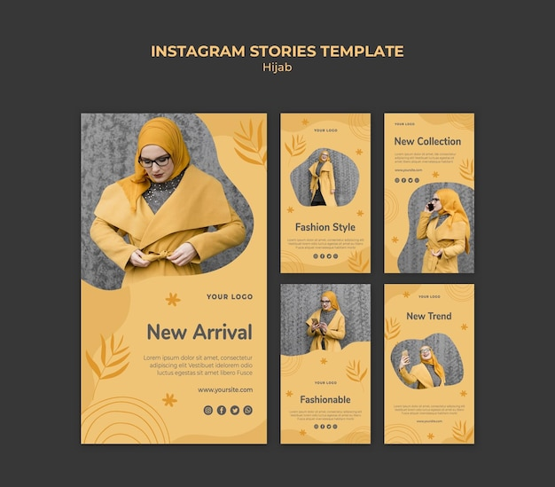 Modello di storie di instagram di concetto di hijab