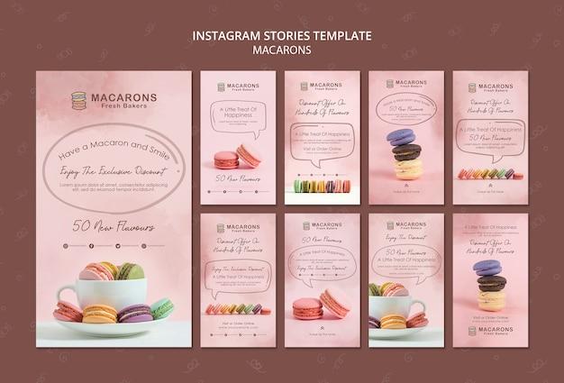 Modello di storie di instagram di concetto di macarons