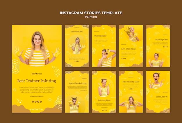 Modello di storie di instagram di concetto di pittura