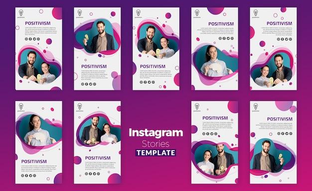 Modello di storie di instagram di concetto di positivismo