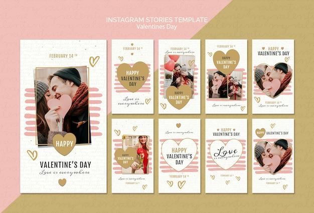 Modello di storie di instagram di concetto di san valentino