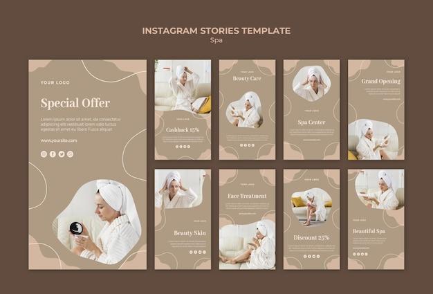 Modello di storie di instagram di concetto di spa