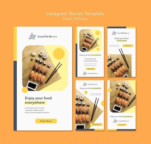 Modello di storie di instagram di consegna di cibo