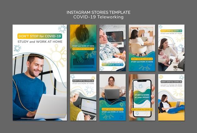 Modello di storie di instagram di coronavirus con foto