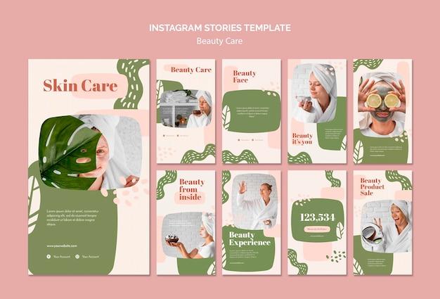 Modello di storie di instagram di cura di bellezza