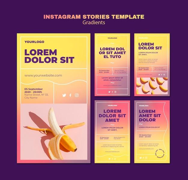 Modello di storie di instagram di design gradiente