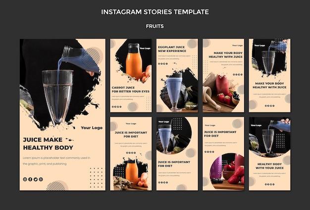 Modello di storie di instagram di frutta