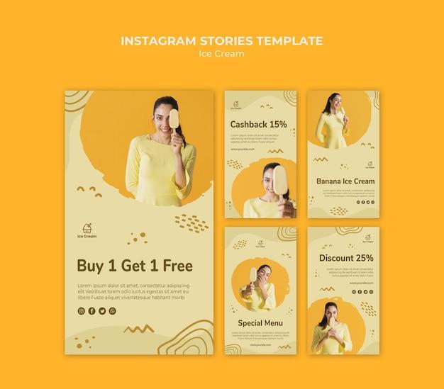 Modello di storie di instagram di gelato
