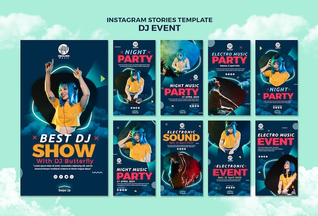 Modello di storie di instagram di musica party