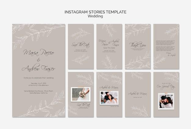 Modello di storie di instagram di nozze