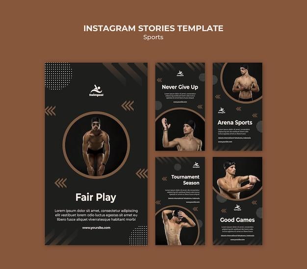 Modello di storie di instagram di nuoto fair play