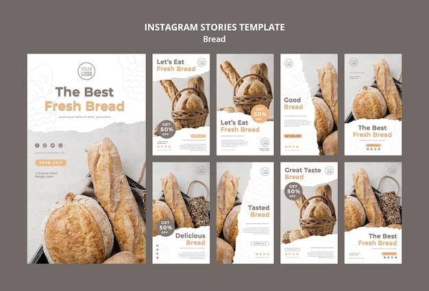 Modello di storie di instagram di pane