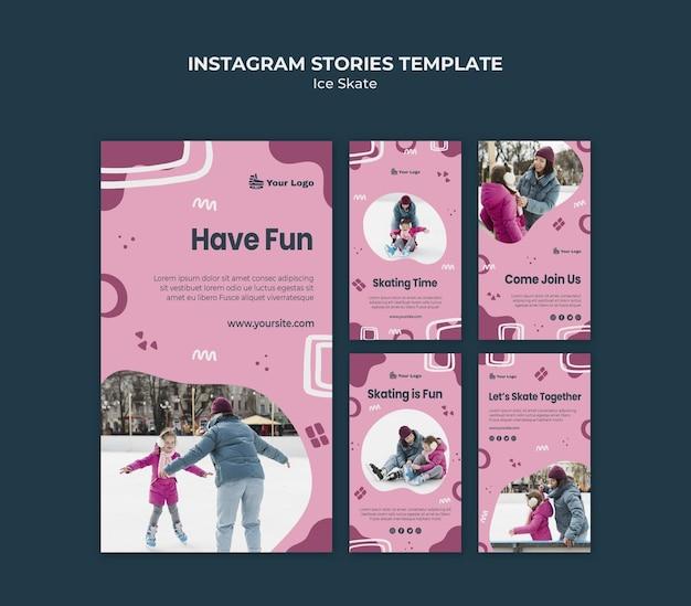 Modello di storie di instagram di pattino sul ghiaccio
