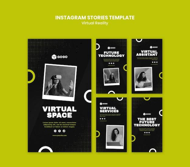 Modello di storie di instagram di realtà virtuale