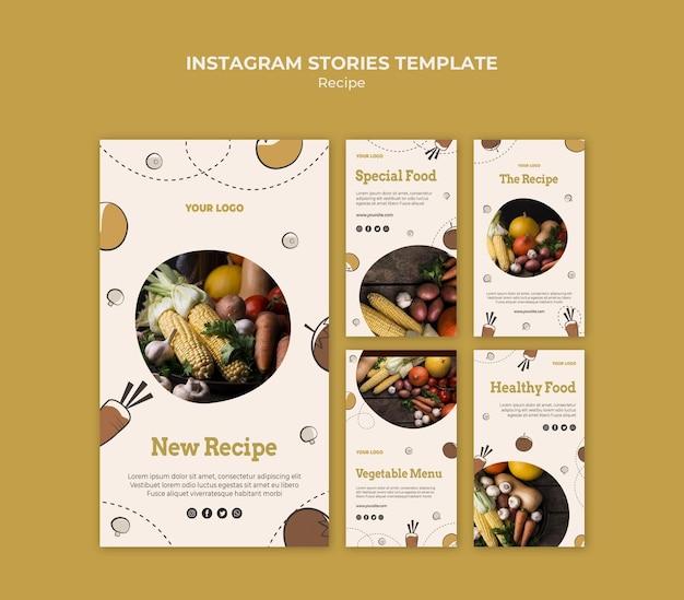 Modello di storie di instagram di ricetta
