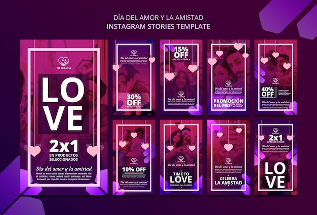 Modello di storie di instagram di san valentino di amore