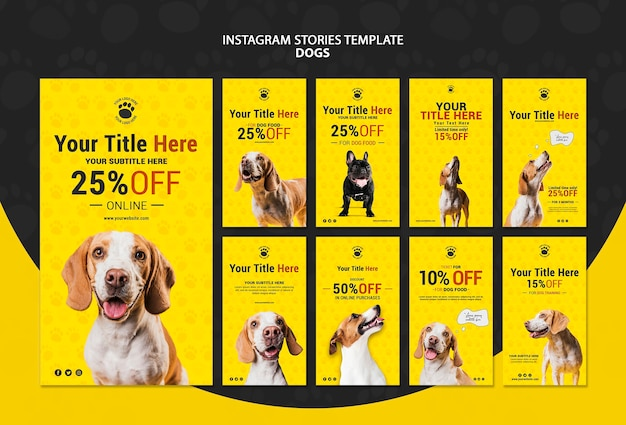 Modello di storie di instagram di sconto dei cani