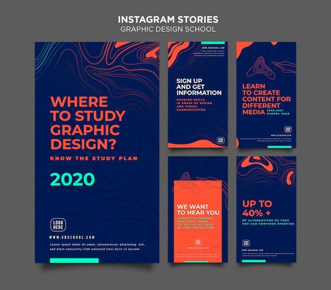 Modello di storie di instagram di scuola di design grafico