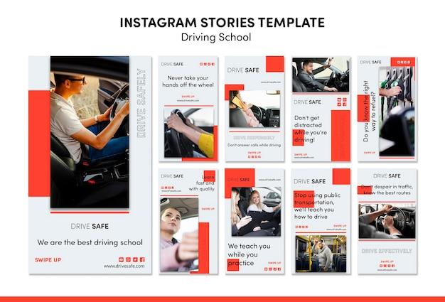 Modello di storie di instagram di scuola guida