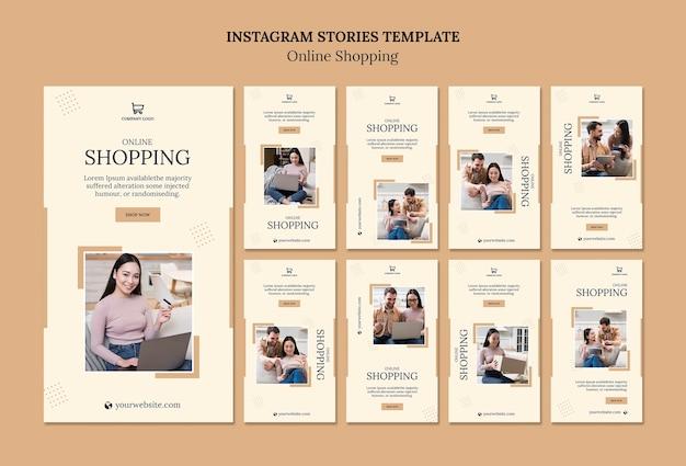 Modello di storie di instagram di shopping online