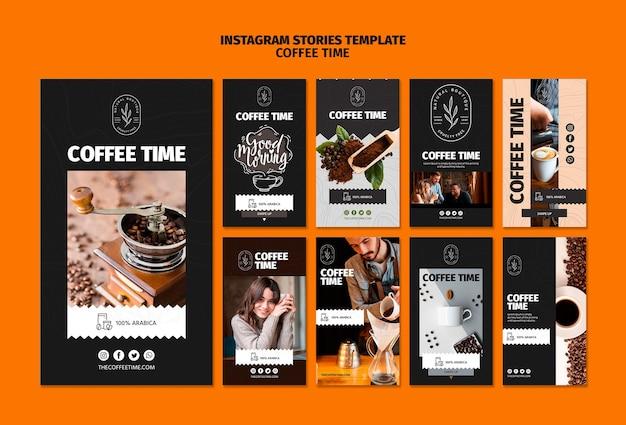 Modello di storie di instagram di tempo di caffè e cioccolato