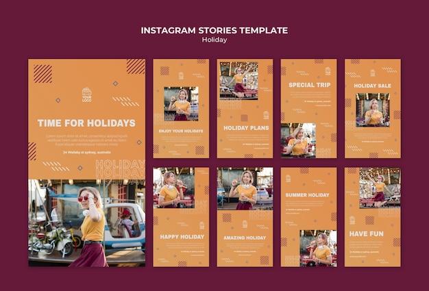 Modello di storie di instagram di vacanza felice