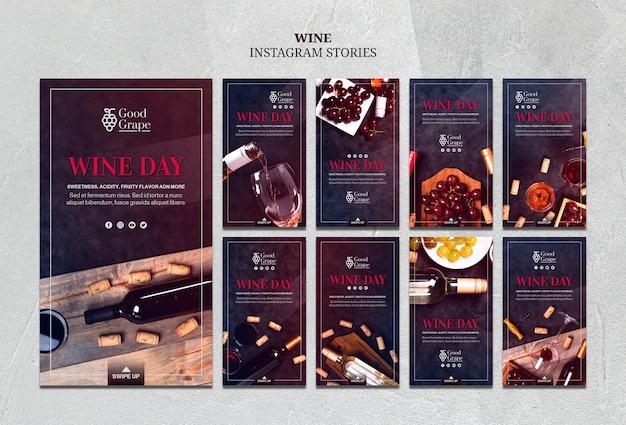 Modello di storie di instagram di vino