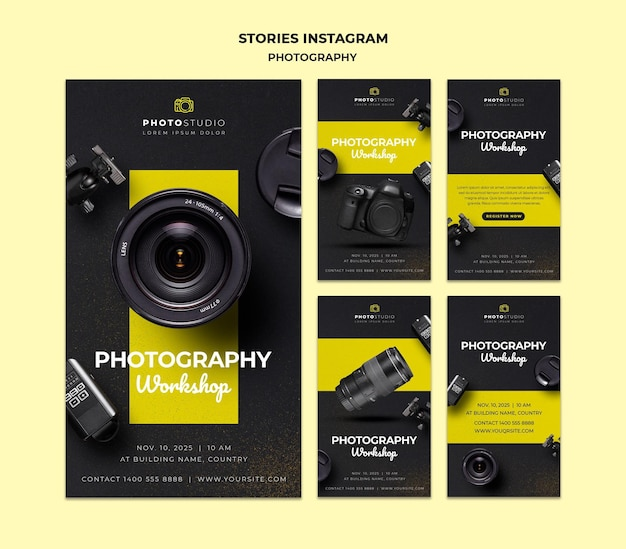Modello di storie di instagram di workshop di fotografia