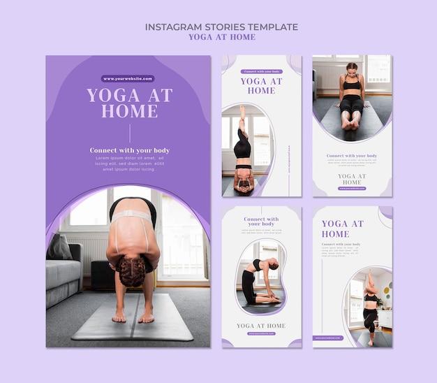 Modello di storie di instagram di yoga a casa