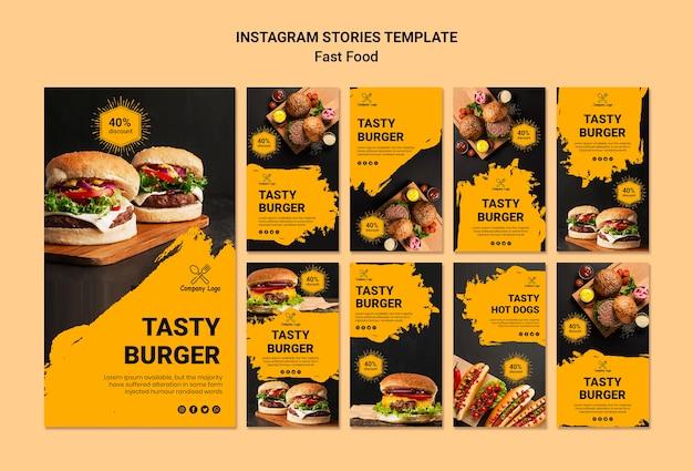 Modello di storie di instagram fast food
