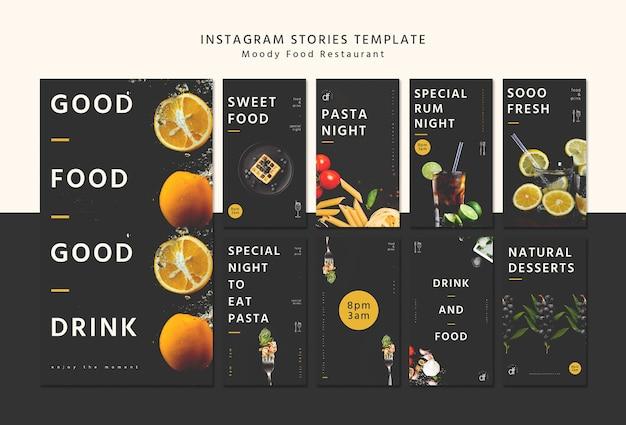 Modello di storie di instagram menu del ristorante