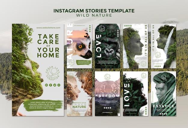 Modello di storie di instagram natura selvaggia