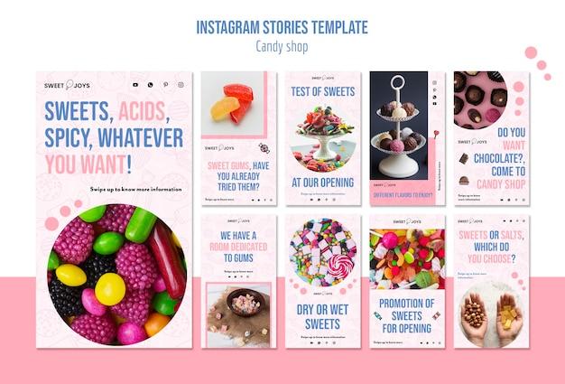 Modello di storie di instagram negozio di caramelle
