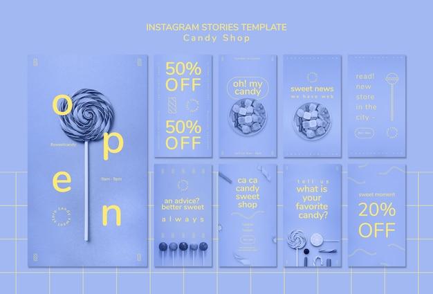 Modello di storie di instagram per negozio di caramelle