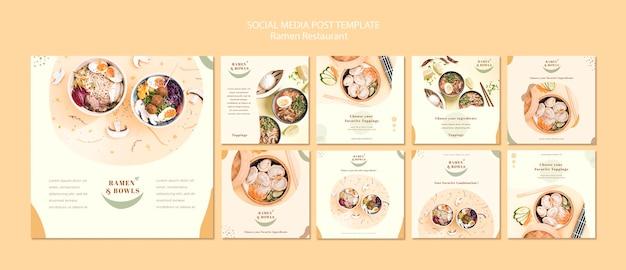 Modello di storie di instagram ristorante ramen