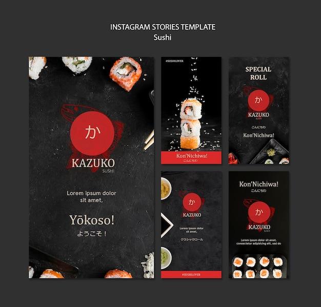 Modello di storie di instagram ristorante sushi